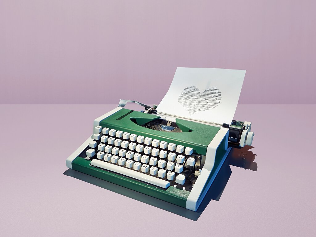 Schreibmaschine mit Herz